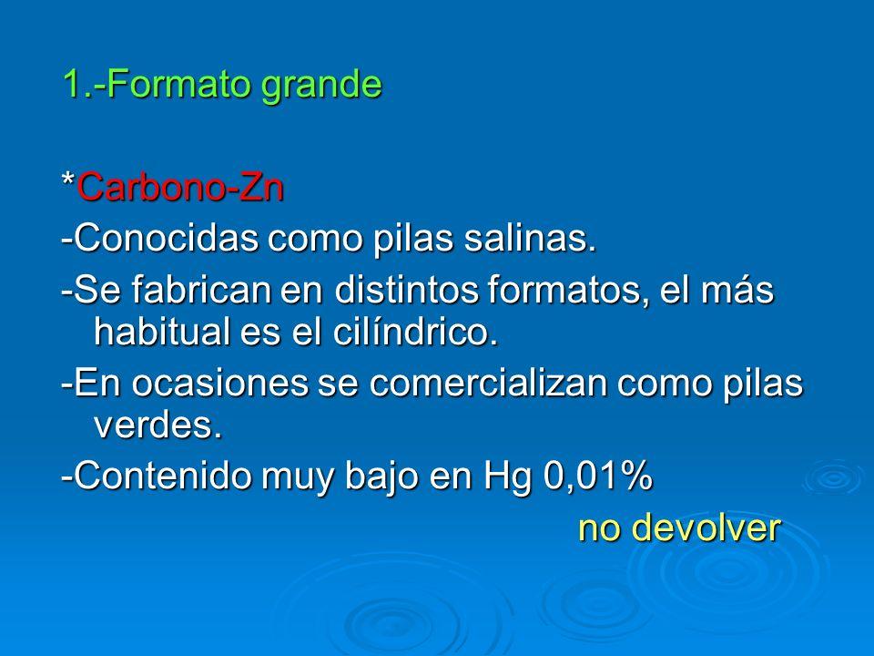 1.-Formato grande *Carbono-Zn. -Conocidas como pilas salinas. -Se fabrican en distintos formatos, el más habitual es el cilíndrico.