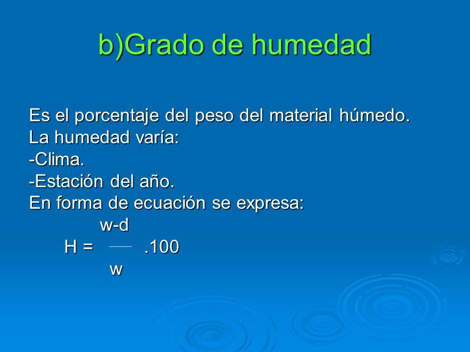 b)Grado de humedad Es el porcentaje del peso del material húmedo.