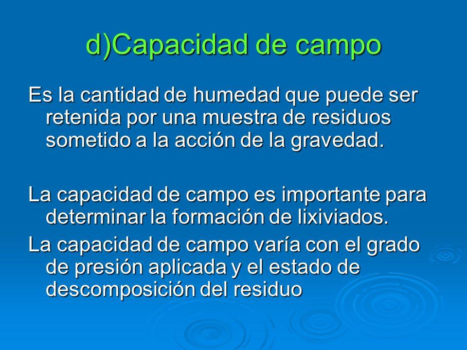 d)Capacidad de campo Es la cantidad de humedad que puede ser retenida por una muestra de residuos sometido a la acción de la gravedad.