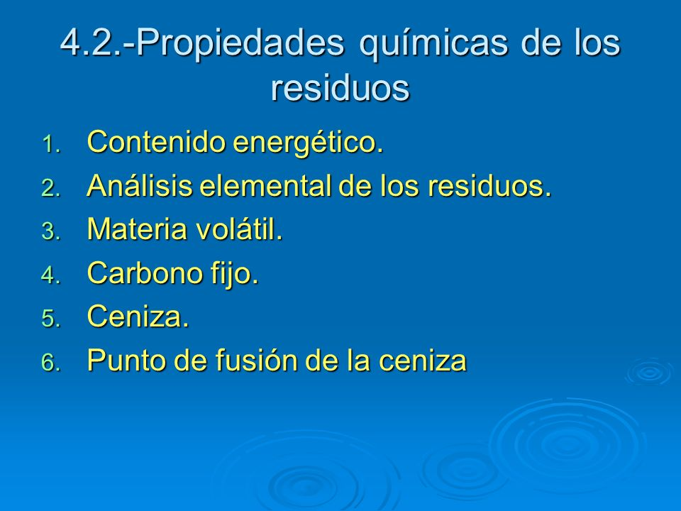 4.2.-Propiedades químicas de los residuos