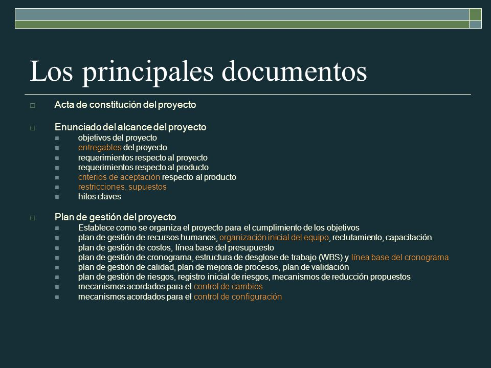 Los principales documentos