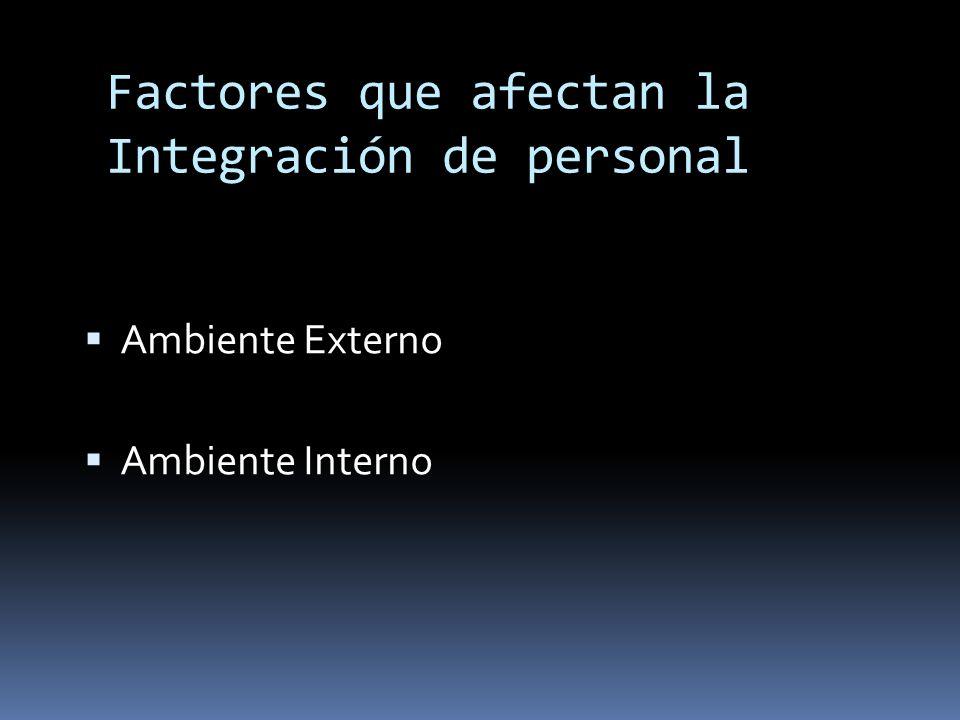 Factores que afectan la Integración de personal