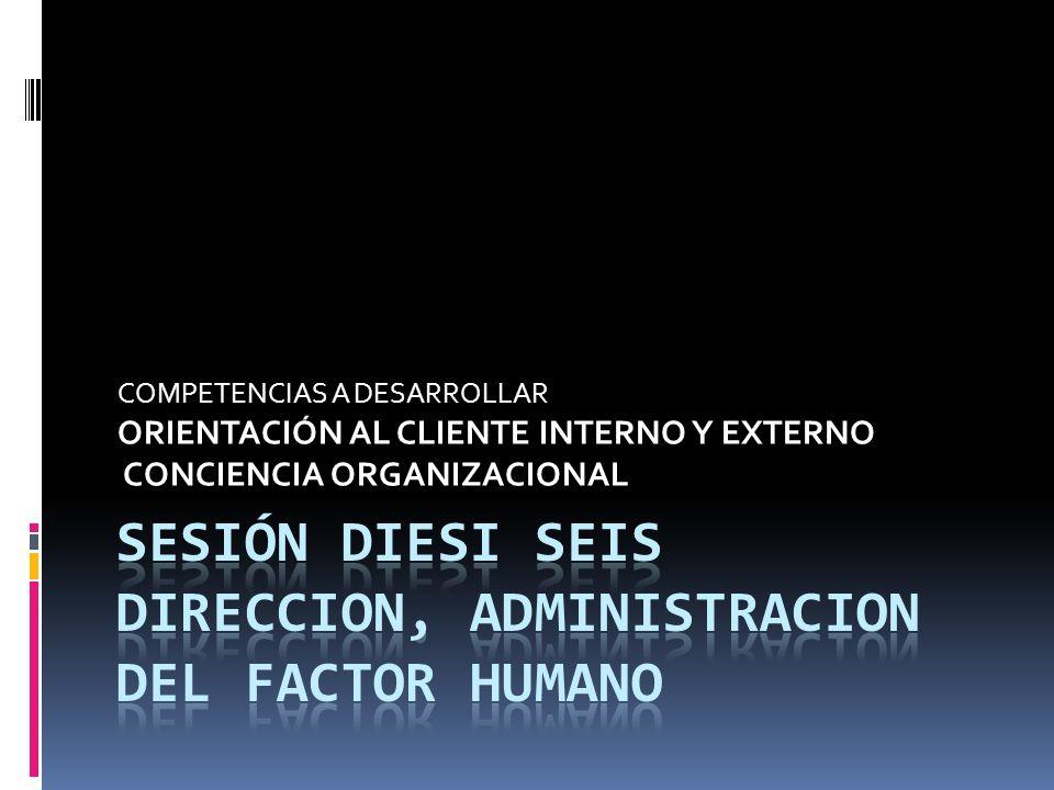 Sesión diesi seis DIRECCION, ADMINISTRACION DEL FACTOR HUMANO