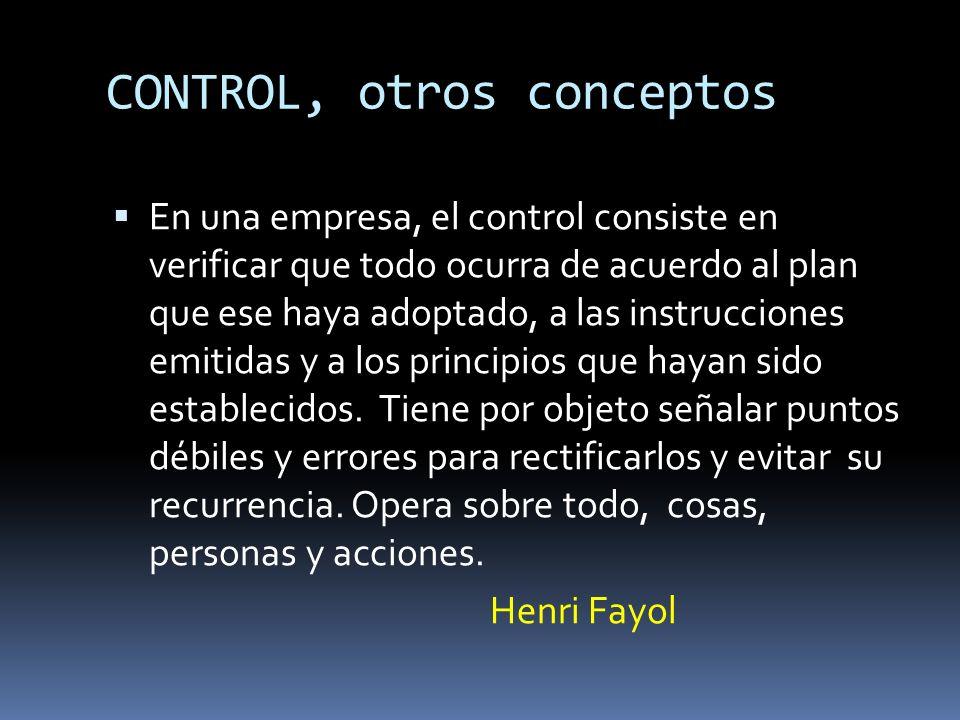 CONTROL, otros conceptos