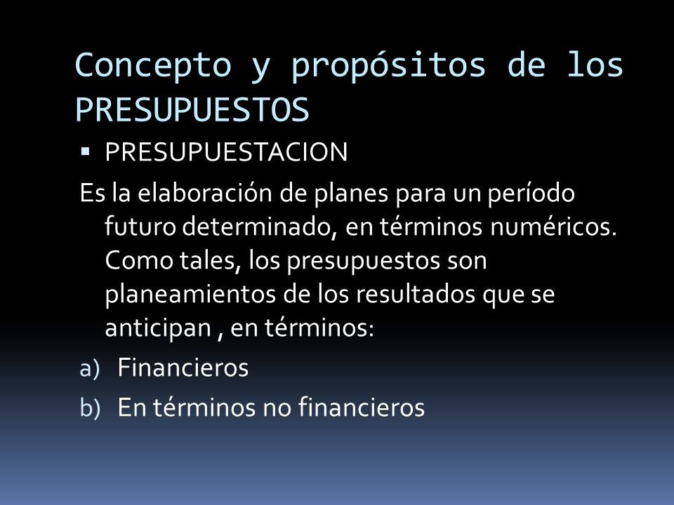 Concepto y propósitos de los PRESUPUESTOS
