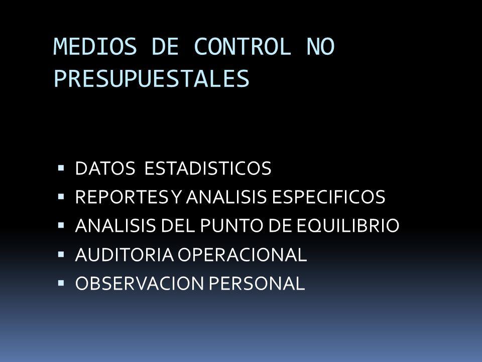 MEDIOS DE CONTROL NO PRESUPUESTALES