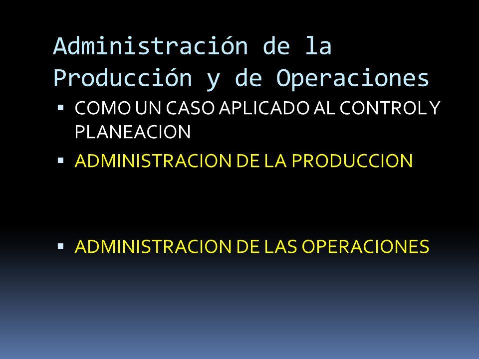 Administración de la Producción y de Operaciones