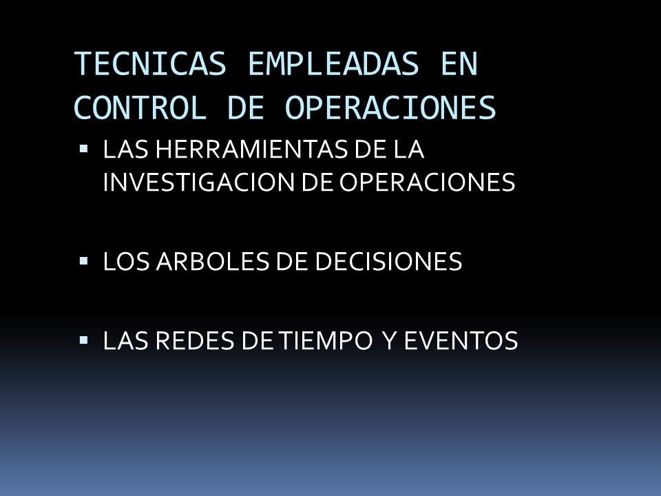 TECNICAS EMPLEADAS EN CONTROL DE OPERACIONES