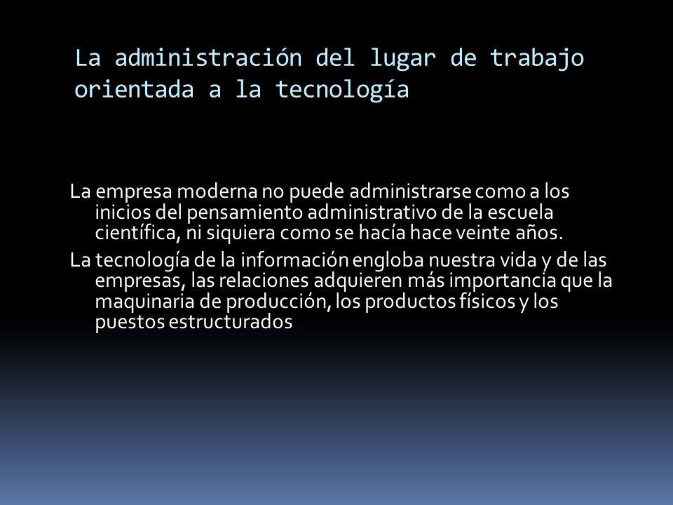 La administración del lugar de trabajo orientada a la tecnología