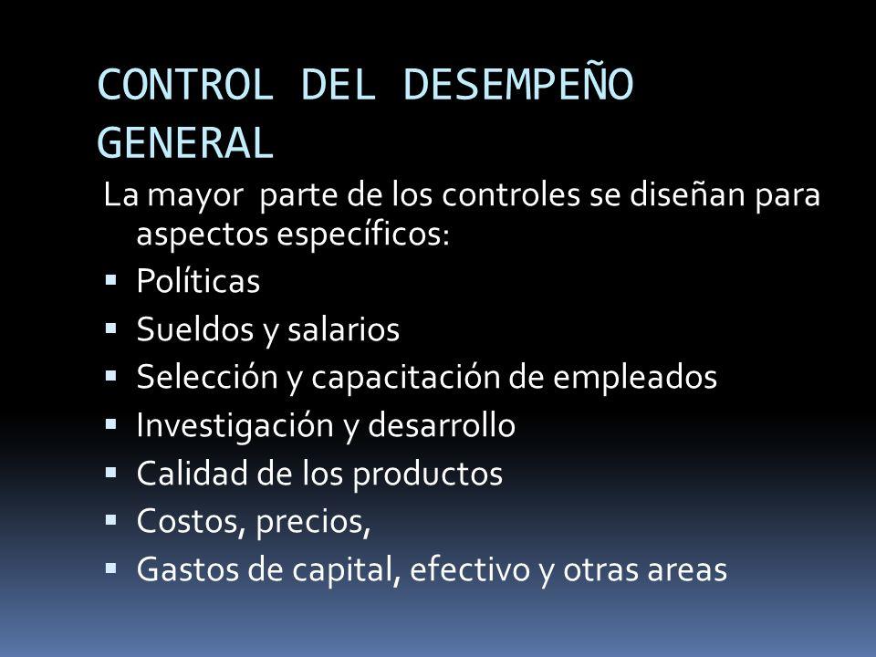 CONTROL DEL DESEMPEÑO GENERAL