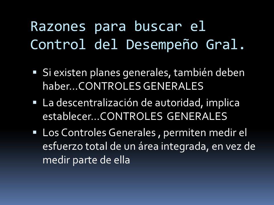 Razones para buscar el Control del Desempeño Gral.