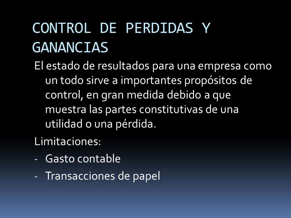CONTROL DE PERDIDAS Y GANANCIAS
