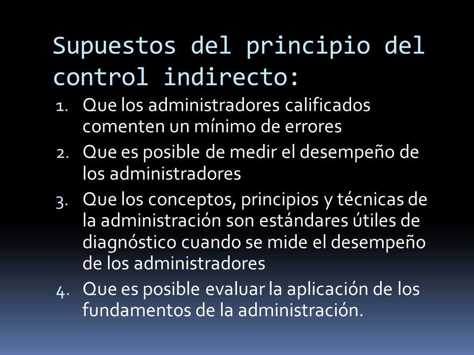 Supuestos del principio del control indirecto: