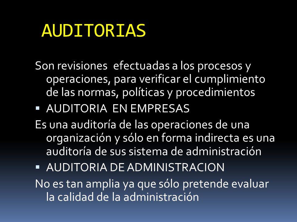 AUDITORIAS Son revisiones efectuadas a los procesos y operaciones, para verificar el cumplimiento de las normas, políticas y procedimientos.