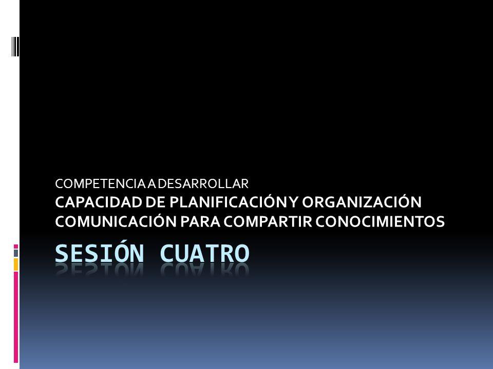 SESIÓN CUATRO CAPACIDAD DE PLANIFICACIÓN Y ORGANIZACIÓN