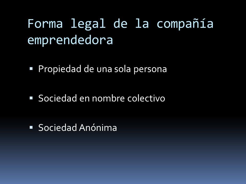 Forma legal de la compañía emprendedora