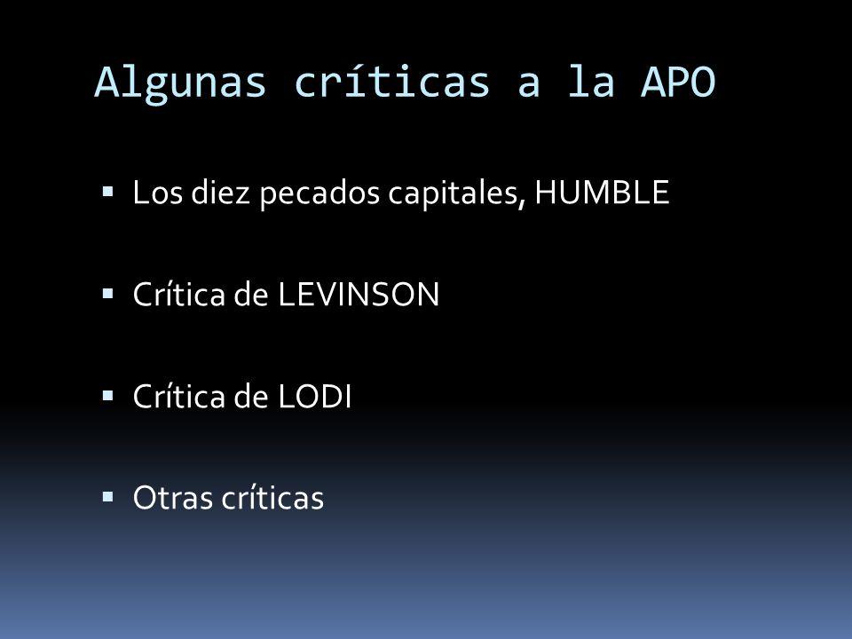 Algunas críticas a la APO
