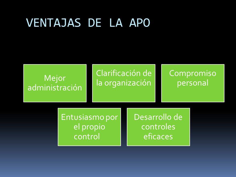 VENTAJAS DE LA APO Mejor administración