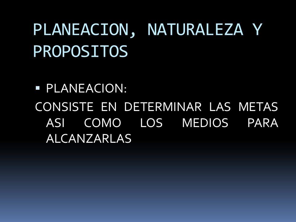 PLANEACION, NATURALEZA Y PROPOSITOS