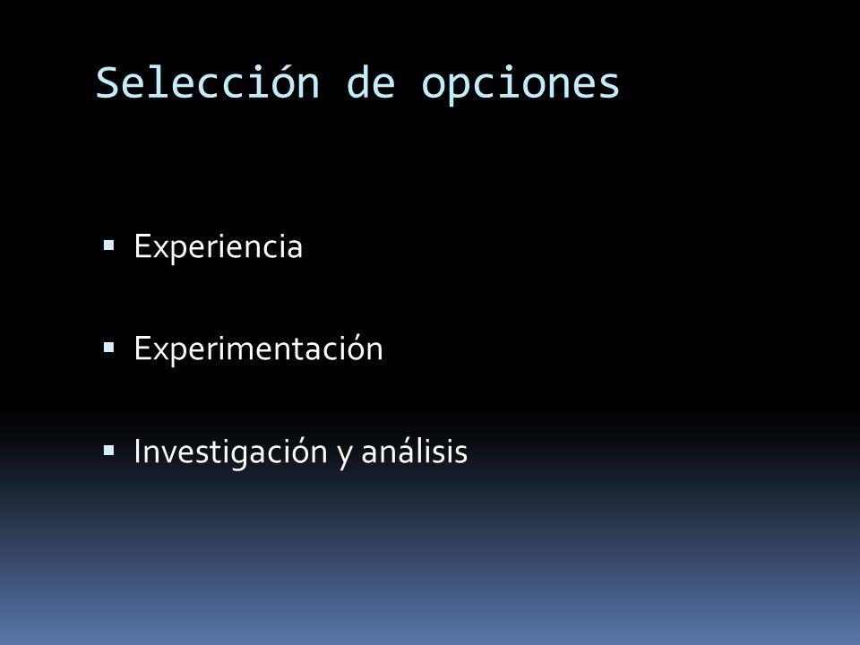 Selección de opciones Experiencia Experimentación