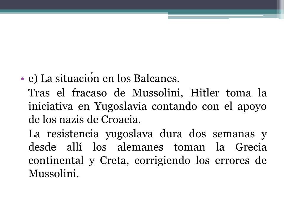 e) La situación en los Balcanes.