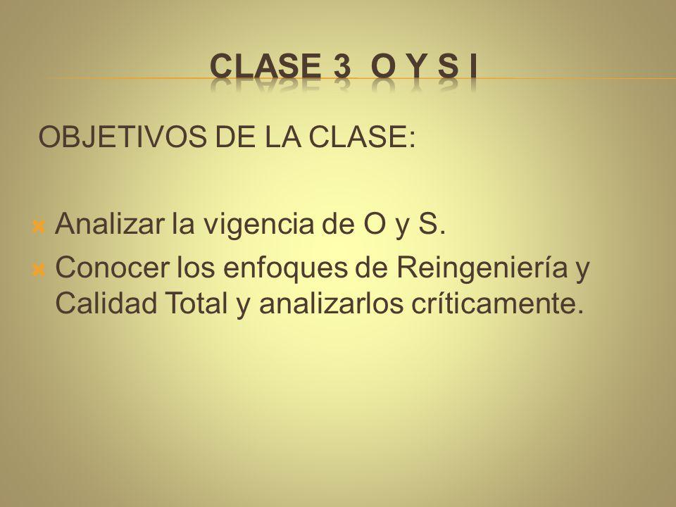 CLASE 3 O y S I OBJETIVOS DE LA CLASE: Analizar la vigencia de O y S.