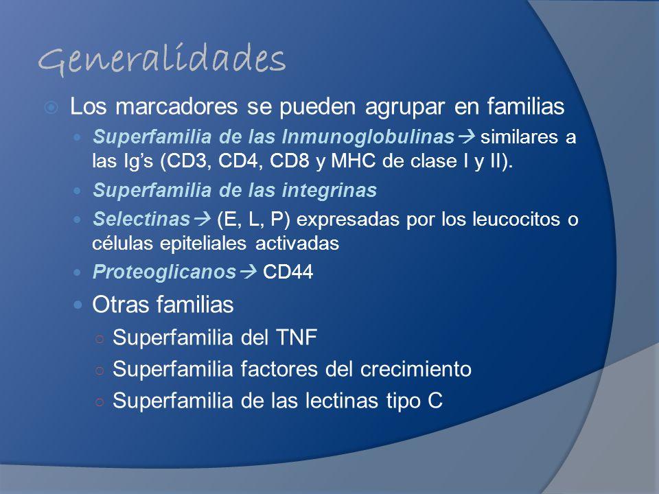 Generalidades Los marcadores se pueden agrupar en familias