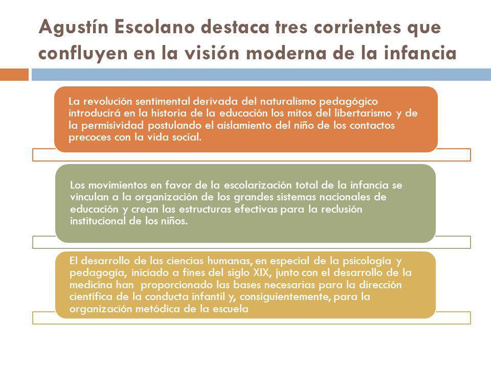 Agustín Escolano destaca tres corrientes que confluyen en la visión moderna de la infancia