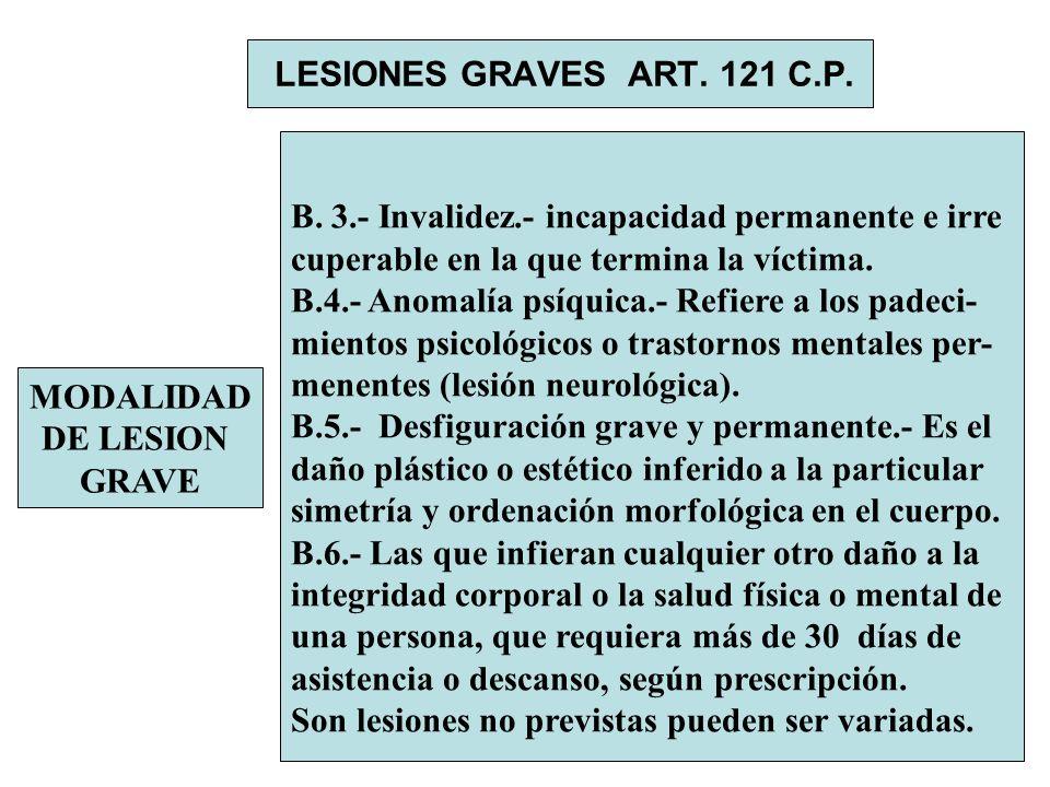LESIONES GRAVES ART. 121 C.P. B. 3.- Invalidez.- incapacidad permanente e irre. cuperable en la que termina la víctima.