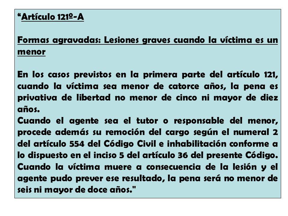 Artículo 121º-A Formas agravadas: Lesiones graves cuando la víctima es un menor.
