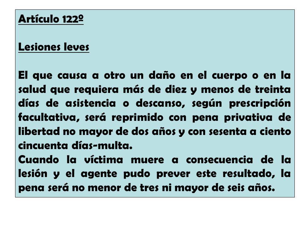 Artículo 122º Lesiones leves.