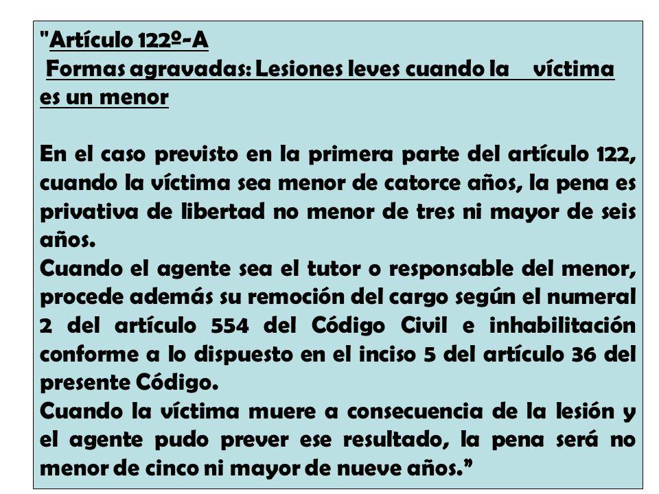 Artículo 122º-A Formas agravadas: Lesiones leves cuando la víctima es un menor.