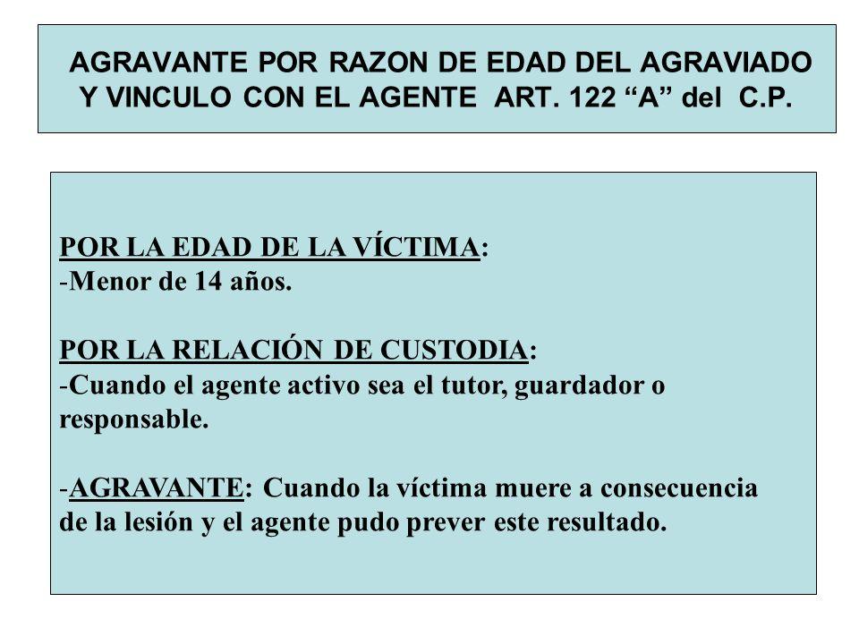 AGRAVANTE POR RAZON DE EDAD DEL AGRAVIADO Y VINCULO CON EL AGENTE ART