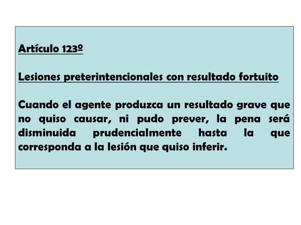 Artículo 123º Lesiones preterintencionales con resultado fortuito.
