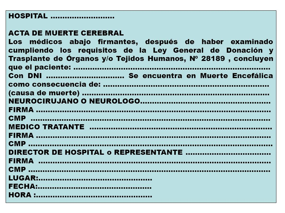 HOSPITAL ........................... ACTA DE MUERTE CEREBRAL.