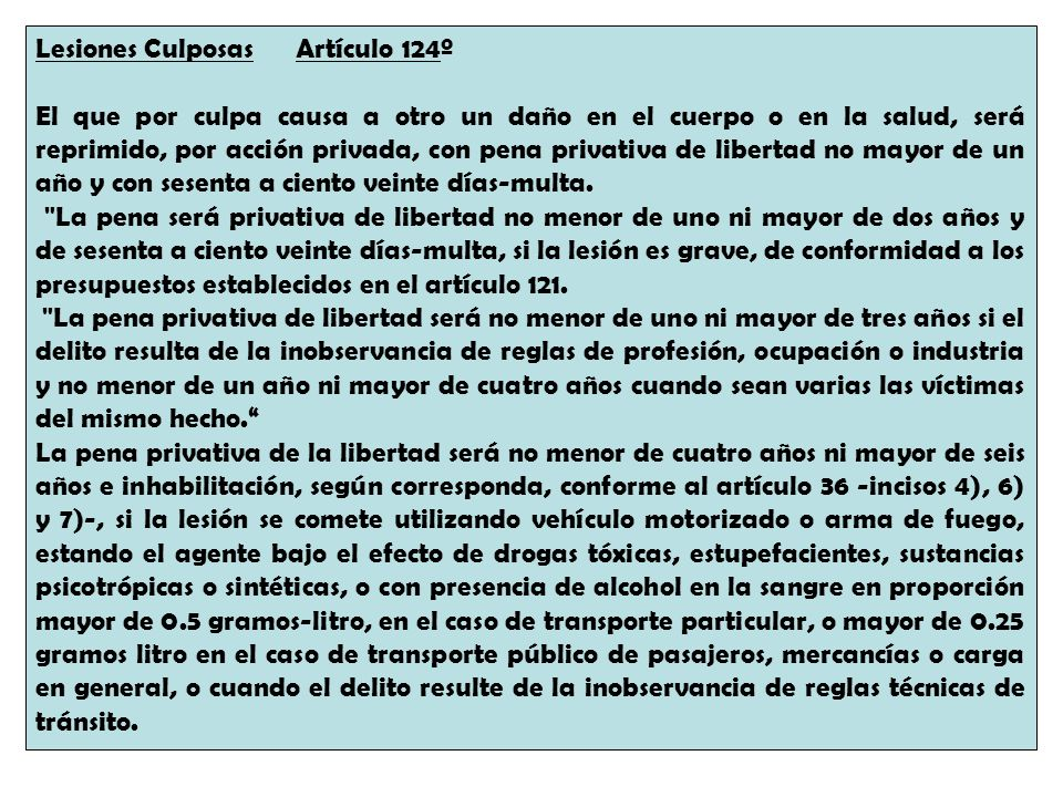 Lesiones Culposas Artículo 124º