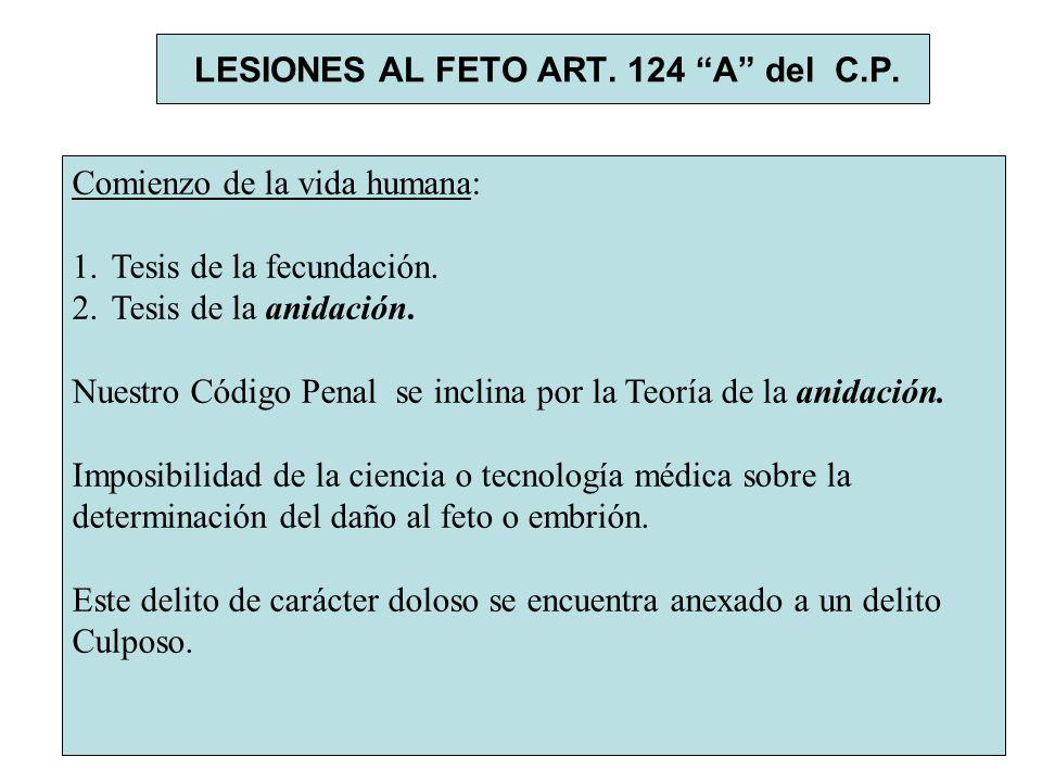 LESIONES AL FETO ART. 124 A del C.P.