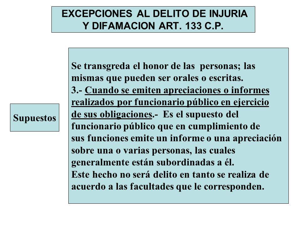 EXCEPCIONES AL DELITO DE INJURIA Y DIFAMACION ART. 133 C.P.