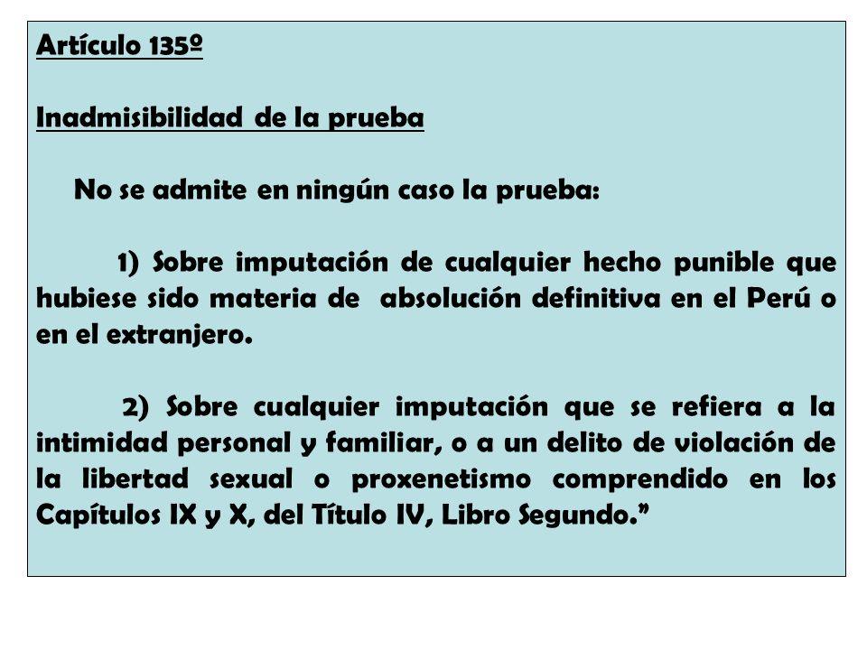 Artículo 135º Inadmisibilidad de la prueba. No se admite en ningún caso la prueba: