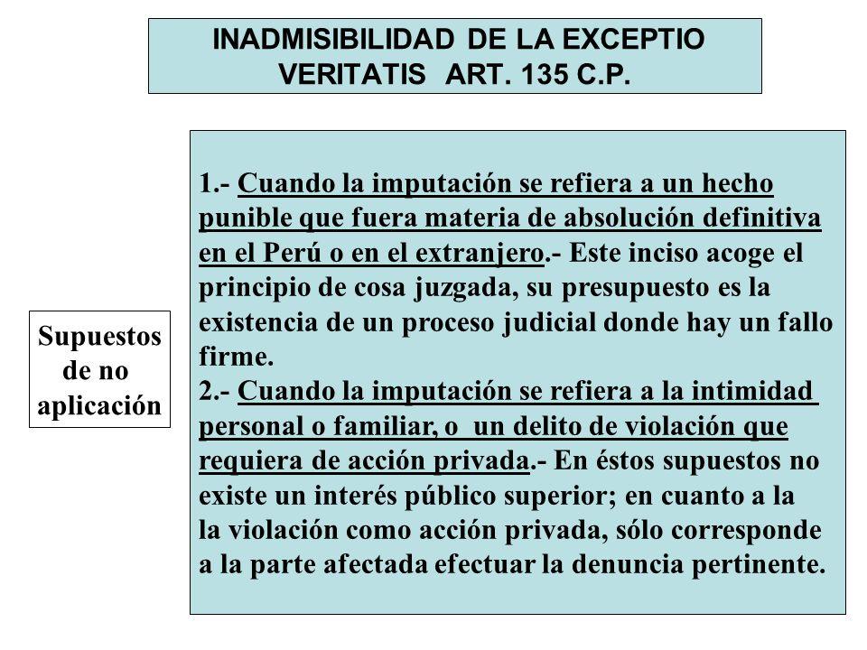 INADMISIBILIDAD DE LA EXCEPTIO VERITATIS ART. 135 C.P.