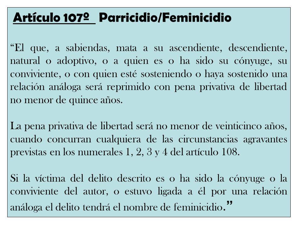 Artículo 107º Parricidio/Feminicidio