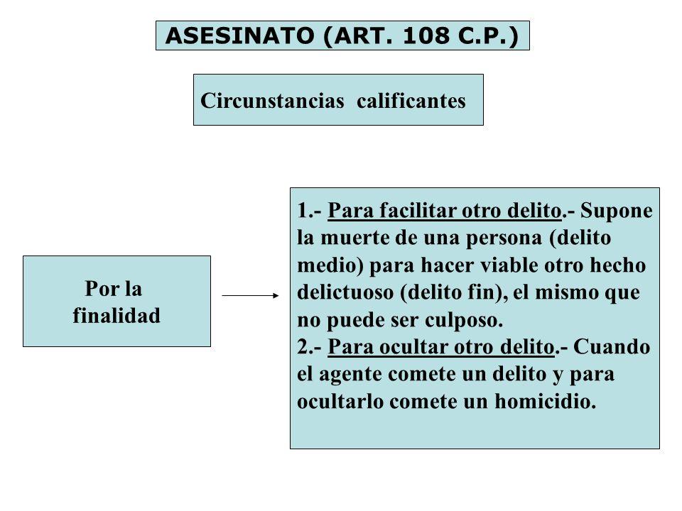 ASESINATO (ART. 108 C.P.) Circunstancias calificantes. 1.- Para facilitar otro delito.- Supone. la muerte de una persona (delito.