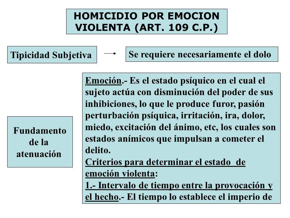 HOMICIDIO POR EMOCION VIOLENTA (ART. 109 C.P.)
