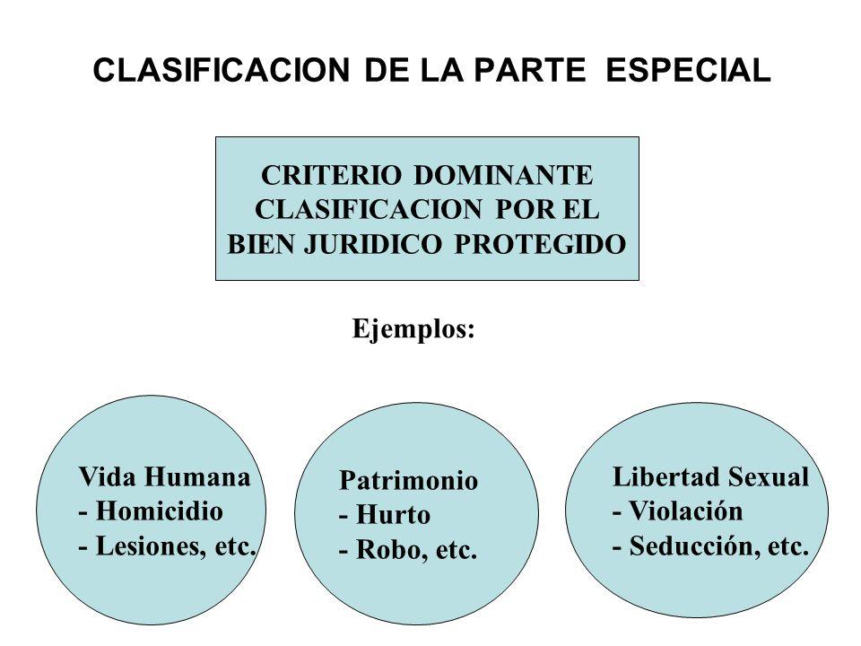 CLASIFICACION DE LA PARTE ESPECIAL