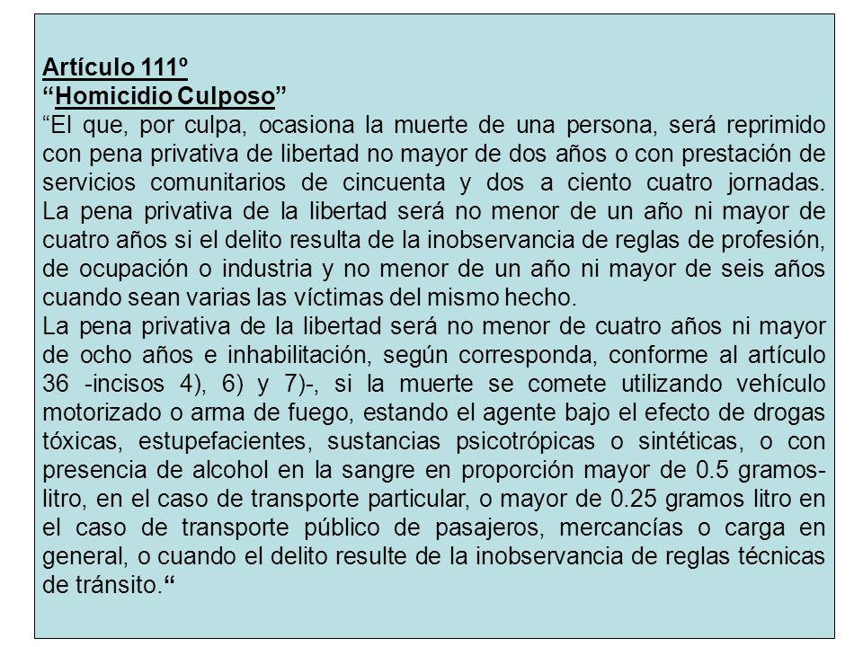 Artículo 111º Homicidio Culposo