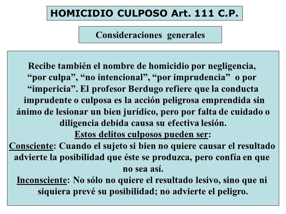 HOMICIDIO CULPOSO Art. 111 C.P.