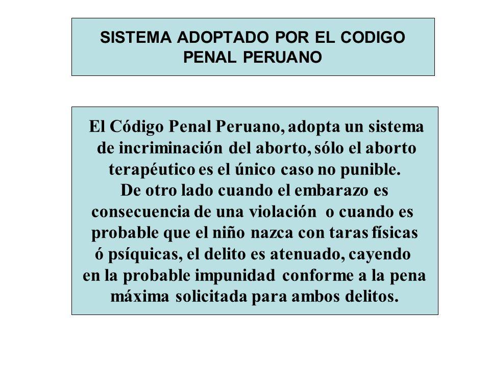 SISTEMA ADOPTADO POR EL CODIGO PENAL PERUANO