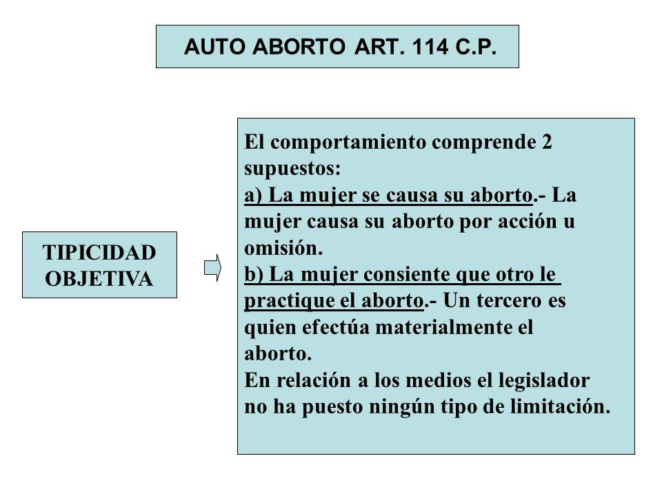 AUTO ABORTO ART. 114 C.P. El comportamiento comprende 2. supuestos: a) La mujer se causa su aborto.- La.