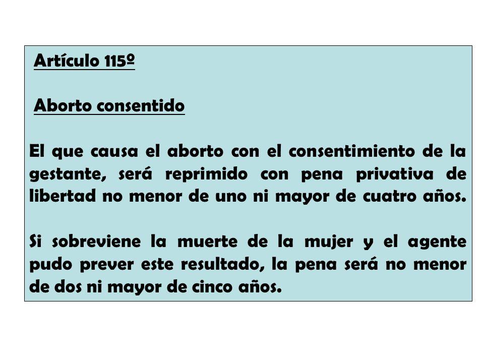 Artículo 115º Aborto consentido.