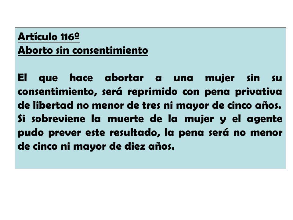 Artículo 116º Aborto sin consentimiento.
